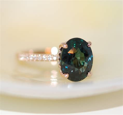 peacock green sapphire engagement ring peacock sapphire