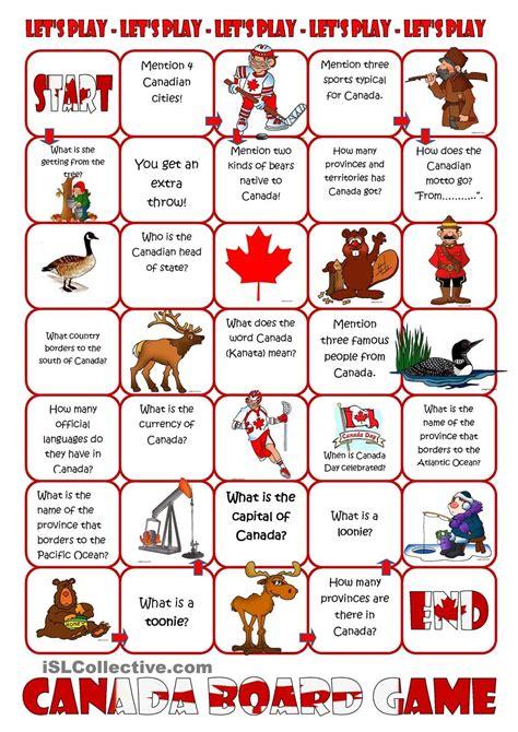 printable quiz about canada canada board game esl canada pinterest social
