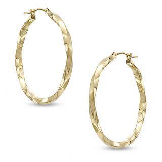 30mm square twist hoop earrings in 14k gold gold