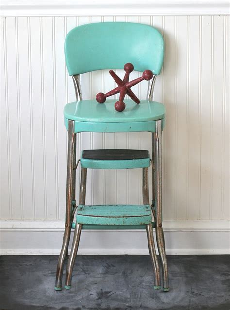 circa 1950s cosco fold out step stool chair aqua by ivorybird