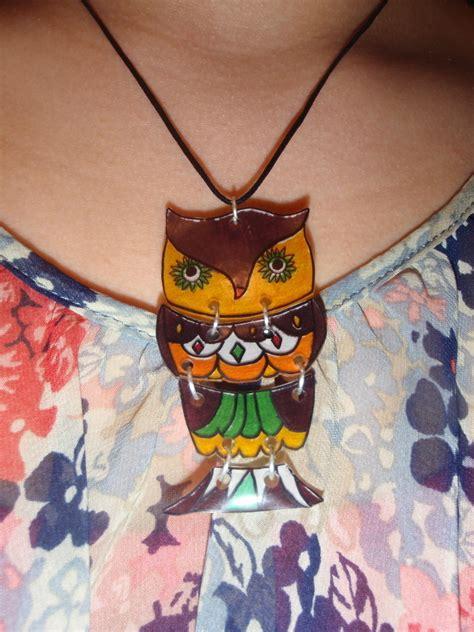 vintage owl shrink plastic necklace     shrink