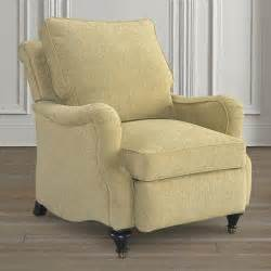 white fabric recliner with wooden legs