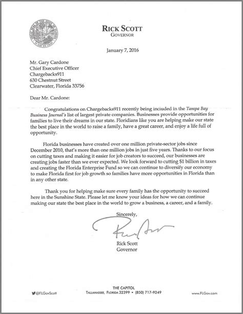 Credit Card Rebuttal Letter Sle Fla Governor Acknowledges Chargebacks911 S Honor