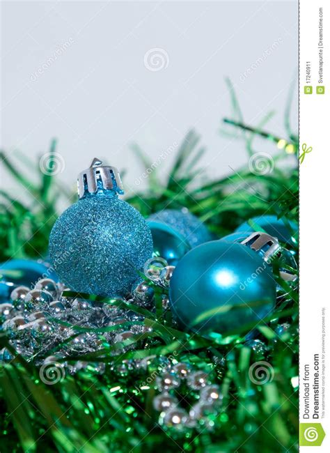blue  green christmas decorations stock image image