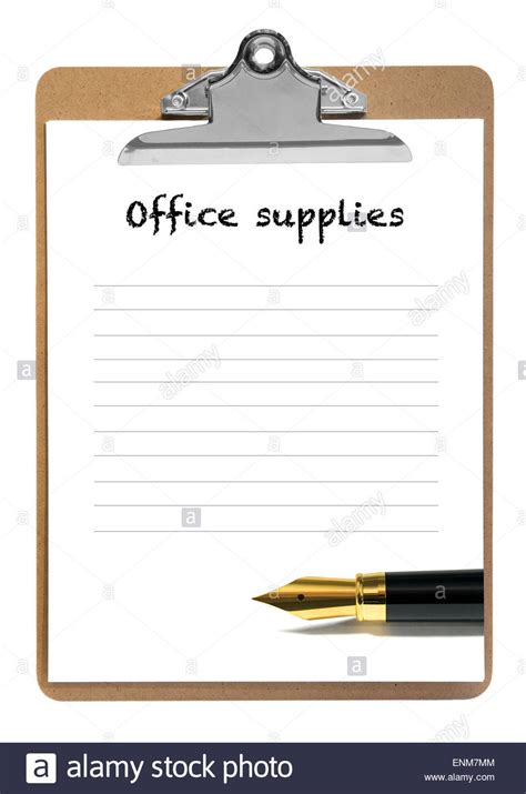 List Of Office Supplies by Office Supplies Blank List Stock Photo Royalty Free Image