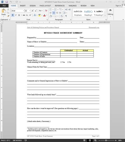 Event Template Trade Show Event Summary Template