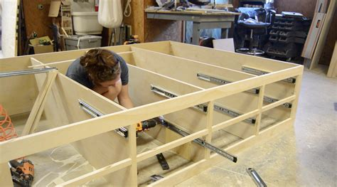 cabinet bed frame diy bed frame with drawer storage wilker do s