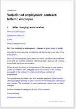 variation of employment contract letter to employee