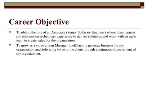 Resume Objective Software Engineer Experienced by Objective In Resume For Experienced Software Engineer