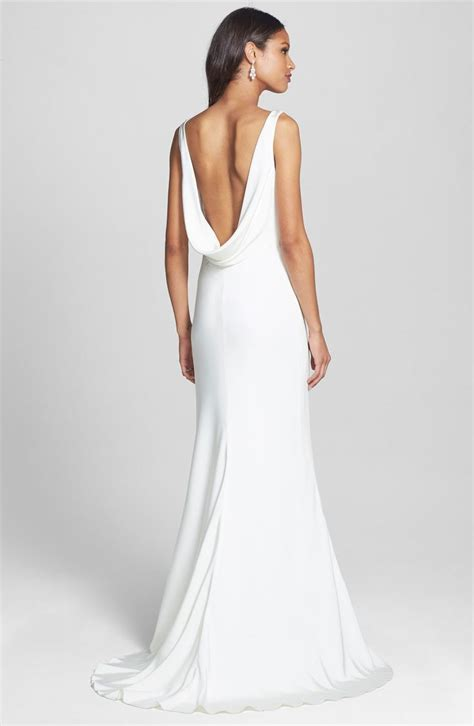Silk Wedding Dresses by S Bliss Lhuillier Draped Neck Silk Crepe