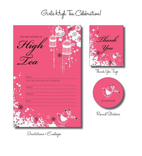 tea invitation templates high tea feestje