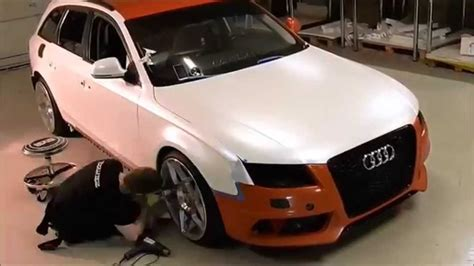 white wrapped cars car wrap audi a4 satin pearl white color change youtube