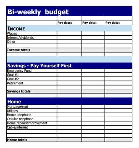 bi weekly time card template document sle bi weekly budget template business