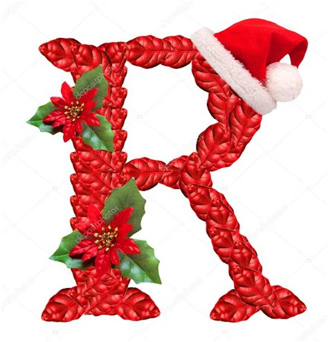 christmas letter r with santa claus cap stock photo