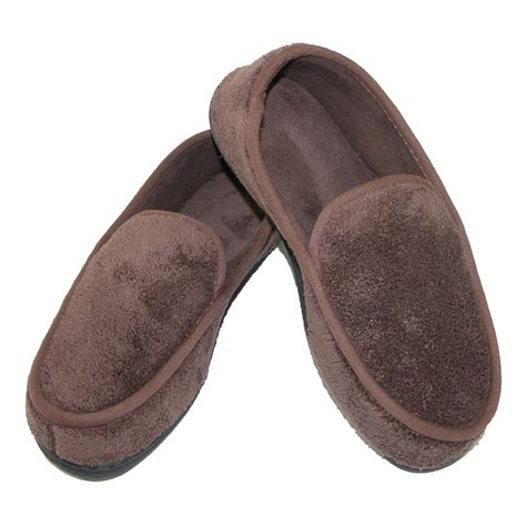 mens isotoner slippers mens microterry memory foam indoor outdoor slip on