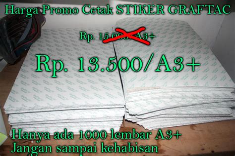 Cetak Stiker Vinyl Transparan Ukuran Kertas A3 sticker graftac ronita digital printing