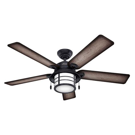 weathered gray ceiling fan with light hunter key biscayne 54 in indoor outdoor weathered zinc