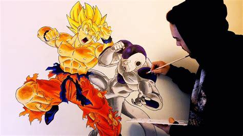 imagenes de goku vs freezer dibujando a lo grande mural goku vs freezer 35 horas