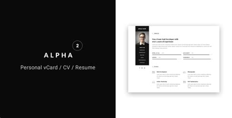 sility vcard cv resume html template free alpha vcard cv resume template by flatheme themeforest