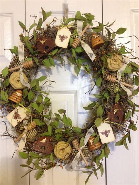 Handcrafted Wreaths - handmade honeybee bee wreath free shipping