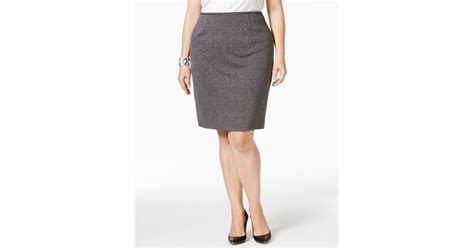 calvin klein plus size tweed pencil skirt in gray save