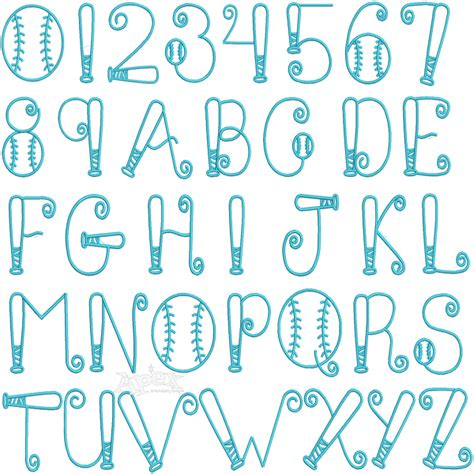 baseball pattern font baseball embroidery font alphabet