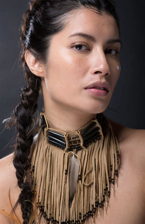 beautiful american indian in the center american leather fringed choker