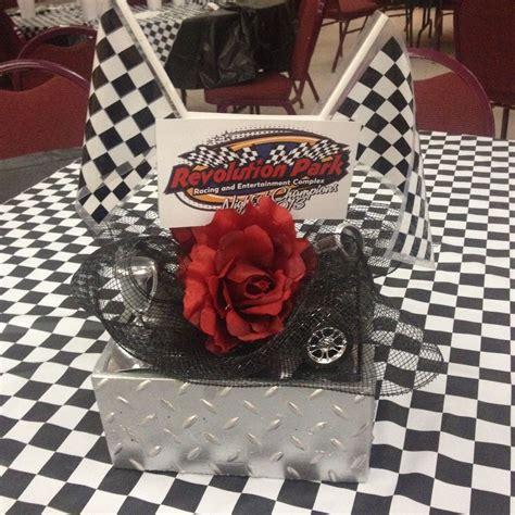 racing theme centerpiece made by original pinner racing nascar centerpiece banquet