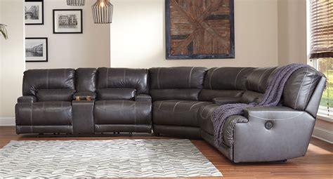 mccaskill gray reclining sectional signature design furniture cart