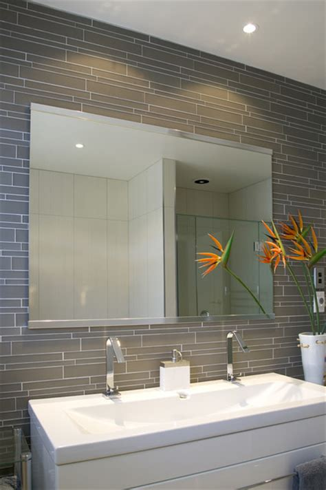 Modern Bathroom Tiles Island Smoke Linear Glass Bathroom Modern Wall And Floor Tile Other Metro By