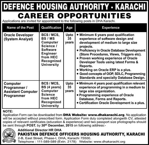 housing authority jobs defence housing authority jobs published in daily kawish newspaper on 20 december 2015