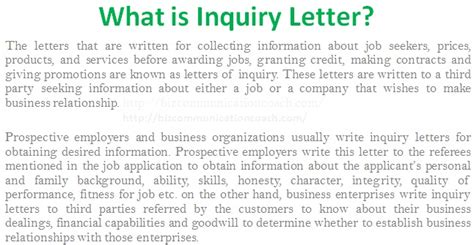 Inquiry Letter In Business Communication Doc 600700 Inquiry Letter For Bizdoska
