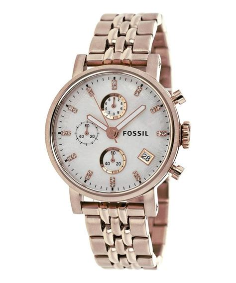 fossil gold of pearl boyfriend chronograph