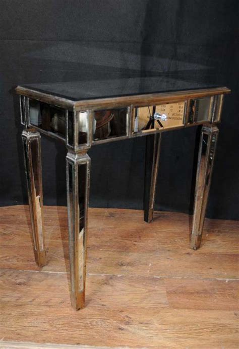 Mirrored Side Table Pair Deco Mirror Side Tables Mirrored Occasional Table Furniture