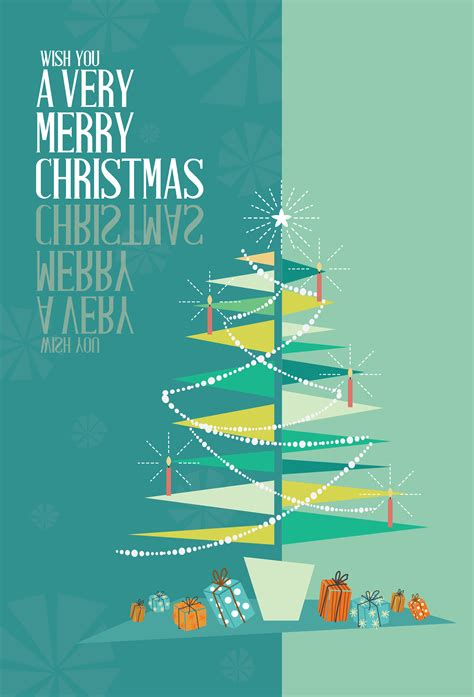 abstract merry christmas greeting card mid century mod