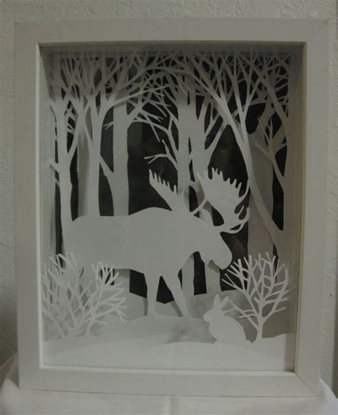 How To Make Layered Papercuts - framed moose layered paper has several layers of