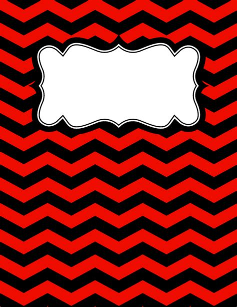printable binder covers pdf free printable red and black chevron binder cover template