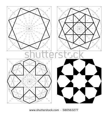 islamic pattern vector dwg geometric shapes stages construction arab pattern stock