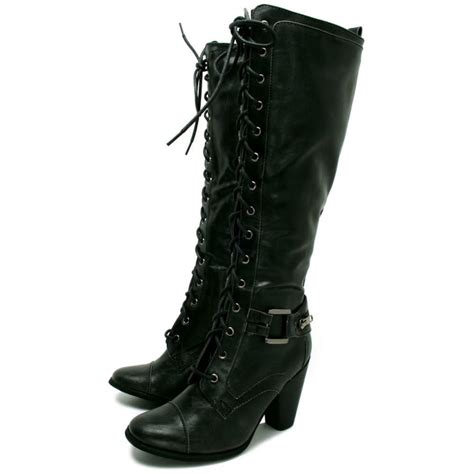 womens black leather style knee lace heel boots