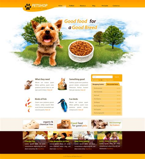 pet templates ready pet shop web template free website templates