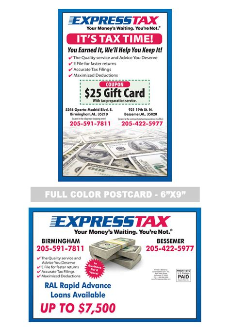 Express Tax Accounting And Tax Preparation Postcard Sles Pinterest Tax Preparation Tax Preparation Postcards Templates