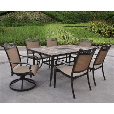 hton bay patio dining set hton bay cedarvale 7 patio dining set with nutmeg hton