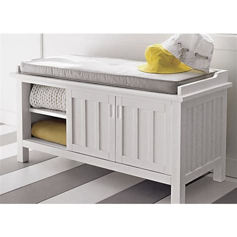 Cushion Storage Bench Foyer Brighton White Storage Bench With Cushion In Storage Bench Cushion Treenovation