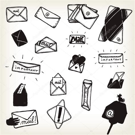 doodle 4 email doodle email icons and envelopes set stock vector