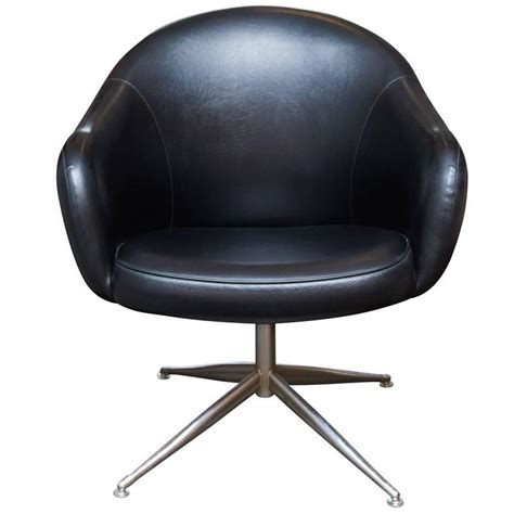 Vintage Baumritter Swivel Chair In Black Naugahyde For Black Swivel Chair