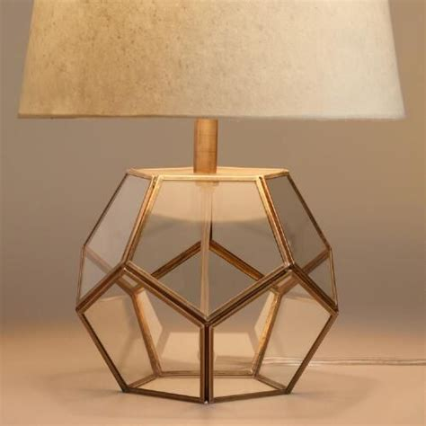 brass table ls for living room glass hexagon accent l base cut glass antique brass