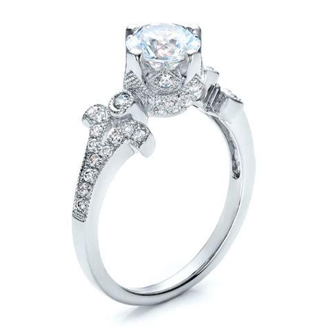 milgrain pave engagement ring vanna k 100075
