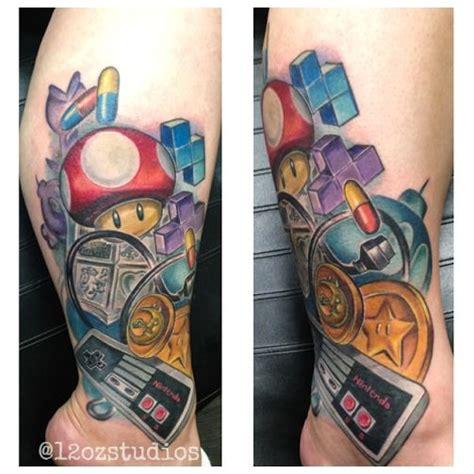 tetris tattoo amazing color nintendo themed nostalgia