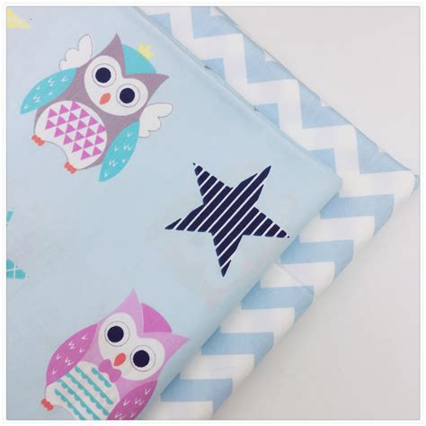Cheap Patchwork Fabric - blue owl wave soft cotton fabric cheap diy sewing craft