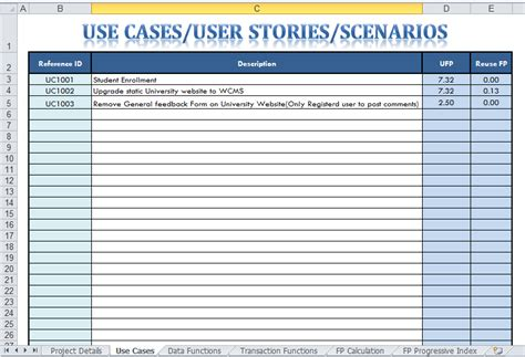 use cases exles template function point analysis sourceforge net